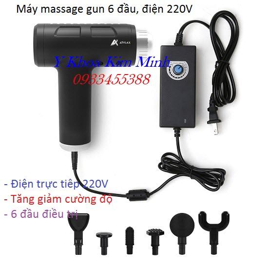 Máy massage gun 6 đầu 10 cấp độ điện 220V Athlax