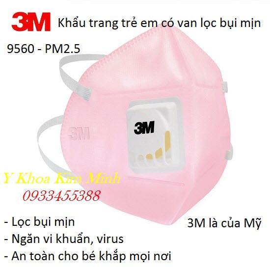 Khẩu trang trẻ em 3M 9560 có van lọc bụi mịn PM2.5