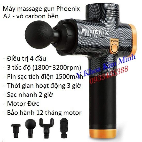 Massage gun Phoenix A2 4 đầu 1500mAh motor Đức