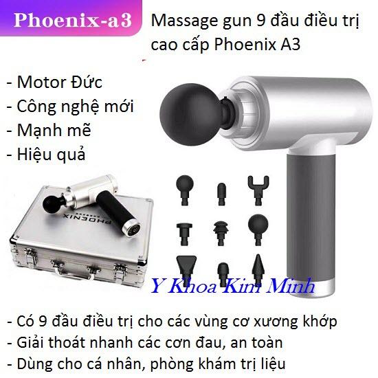 Máy massage gun Phoenix 9 đầu điều trị A3 2500mAh