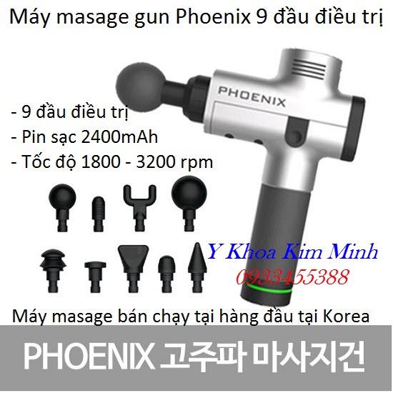 Phoenix A1 2400mAh máy masasge gun 9 đầu điều trị