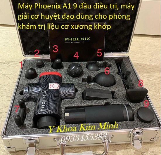 Máy masage gun 9 đầu điều trị Phoenix A1 2400mAh