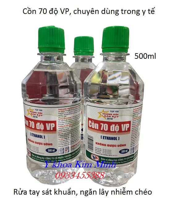 Cồn 70 VP rửa tay sát khuẩn chai 500ml