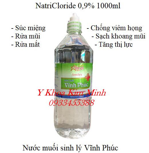 Natricloride 0.9% VP nước muối sinh lý súc miệng rửa mũi 1000ml