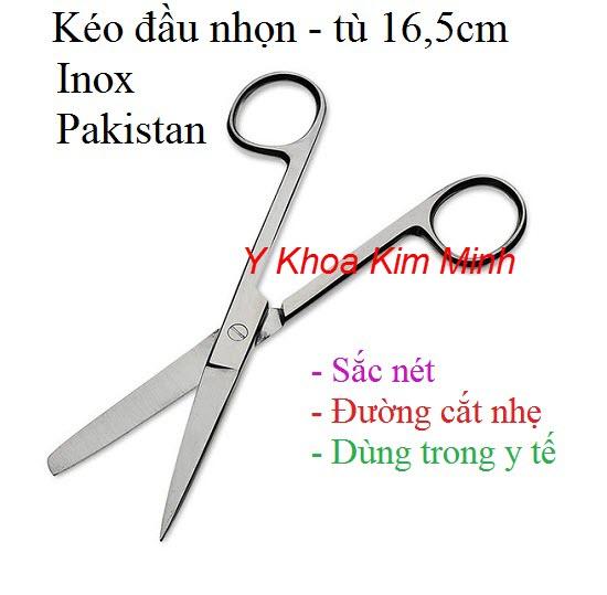 Kéo đầu nhọn-tù 16.5cm inox Pakistan