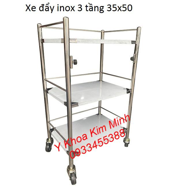 Xe đẩy inox 3 tầng 35x50