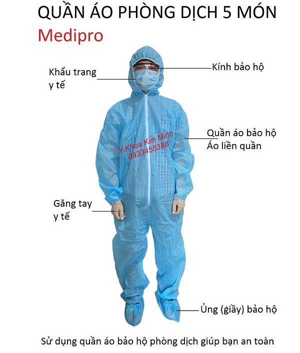 Quần áo phòng dịch Medipro 5 món