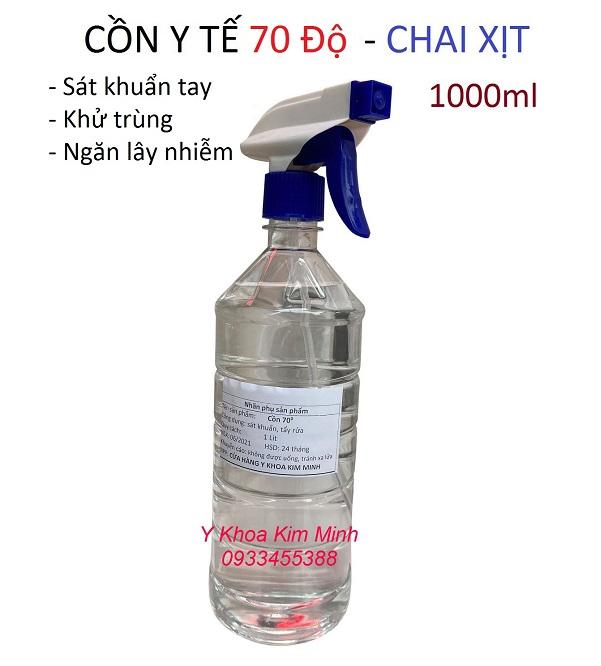 Cồn y tế 70 độ chai xịt 1 lít