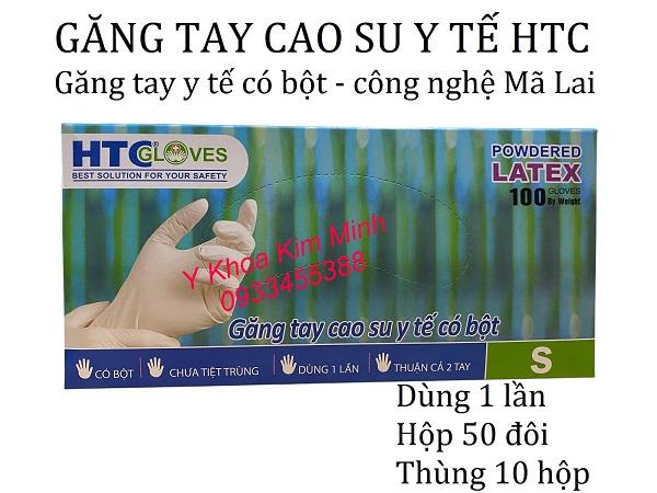 Găng tay cao su y tế HTC có bột size S M L