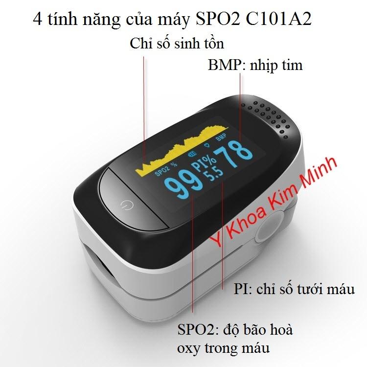 Máy đo oxy máu SPO2 C101A2 có 4 chức năng theo dõi bệnh nhân - Y khoa Kim Minh