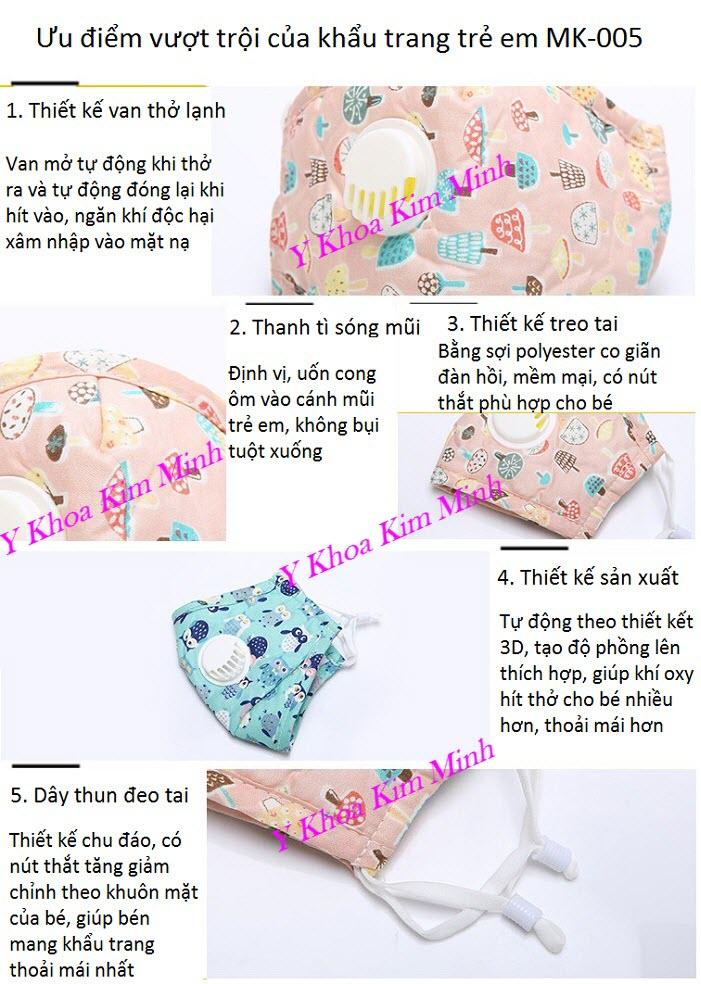 5 ưu điểm vượt trội của khẩu trang trẻ em MK-005 - Y Khoa Kim Minh