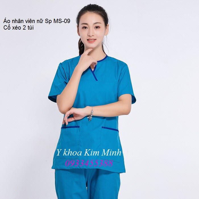 Áo nhân viên nữ spa thẩm mỹ cổ xéo MS-09 - Y khoa Kim Minh