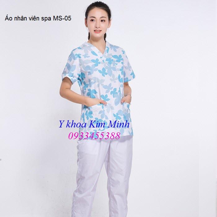 Áo nhân viên spa hoa văn cổ trái tim MS-05 - Y khoa Kim Minh 0933455388