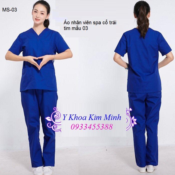 Áo nhân viên thẩm mỹ kiểu cổ trái tim mã số 03 - Y khoa Kim Minh