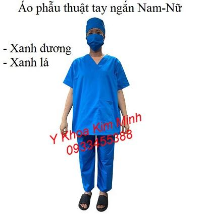 Bộ quần áo phẫu thuật phòng mổ tay ngắn 4 món xanh dương - Y Khoa Kim Minh
