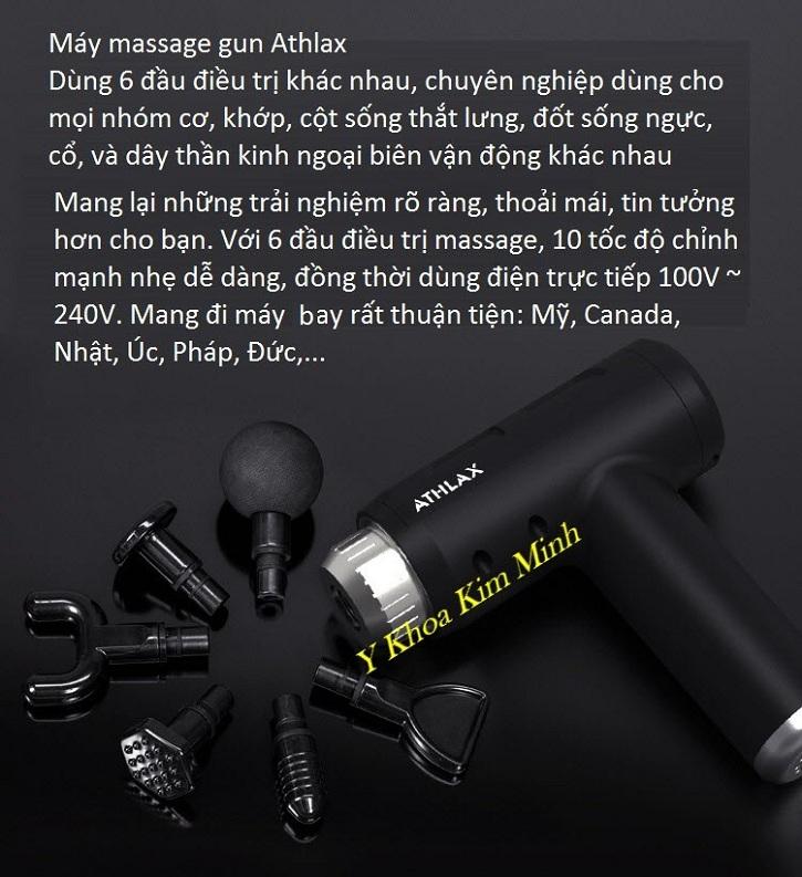 Máy massage gun Athlax dùng cho phòng điều trị vật lý và chữa bệnh đau cơ xương khớp người già điện trực tiếp - Y Khoa Kim Minh