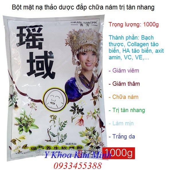 Bột đắp mặt nạ thảo dược chữa nám trị tàn nhang làm sáng da 1000g - Y khoa Kim Minh 0933455388