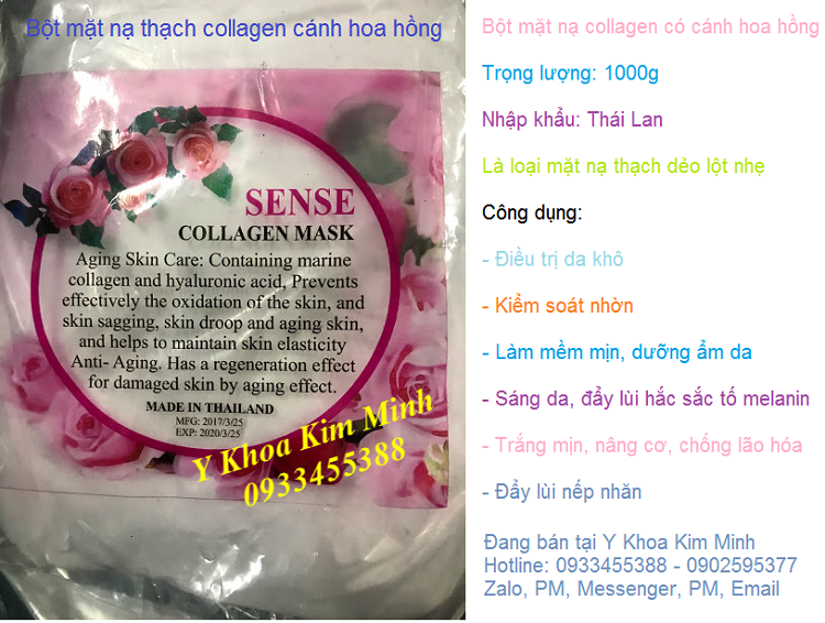 Bán bột mặt nạ Collagen cánh hoa hồng Thái Lan đắp dưỡng trắng mịn da nâng cơ - Y khoa Kim Minh 0933455388