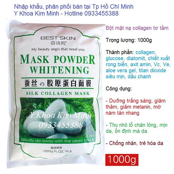 Bán bột mặt nạ collagen tơ tằm làm trắng sáng da trọng lượng 1000g - Y khoa Kim Minh 0933455388