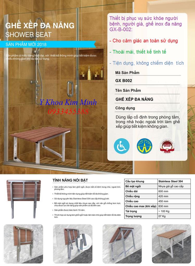 Bán ghế xếp cho người già tắm vệ sinh thân thể GX-B002 - Y Khoa Kim Minh 0933455388
