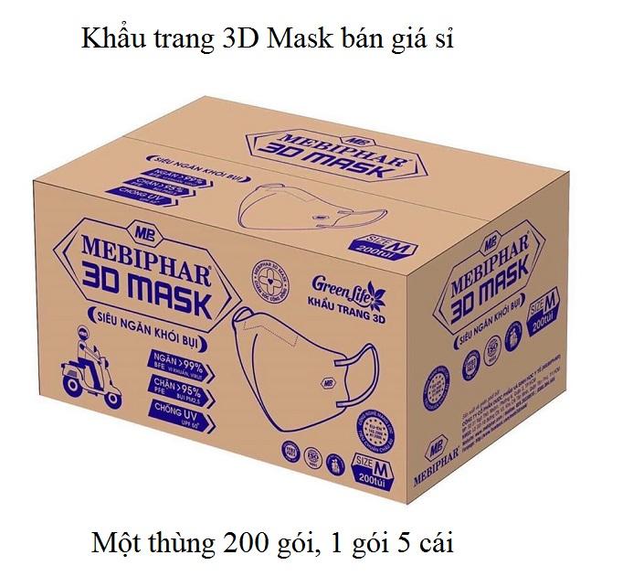 Khẩu trang 3D Mask bán giá sỉ theo thùng 200 gói, 1 gói 5 cái - Y khoa Kim Minh
