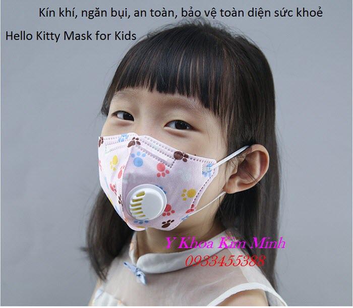 Khẩu trang y tế trẻ em Hello Kitty có lọc bụi mịn - Y Khoa Kim Minh