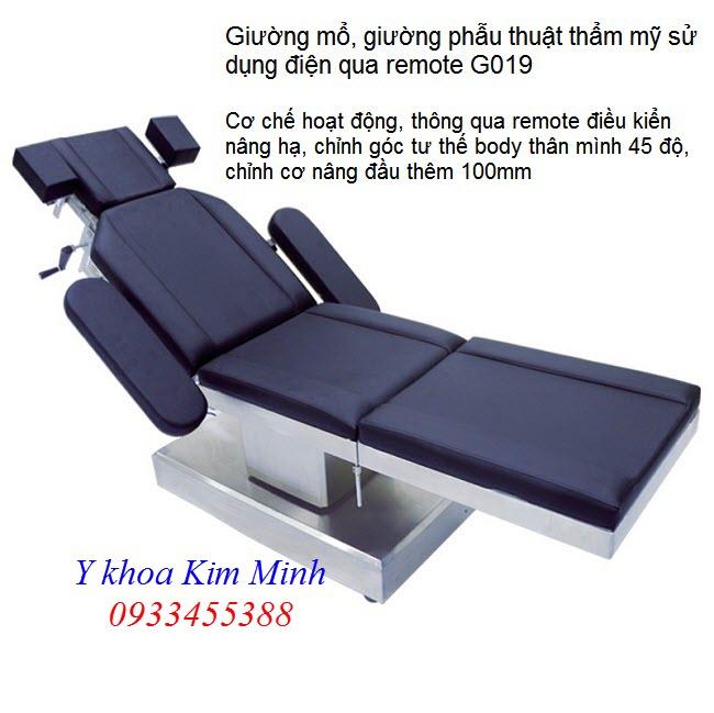 Giường mổ phẫu thuật điện dùng trong ngành thẩm mỹ, y tế mã số G019 - Y khoa Kim Minh 0933455388
