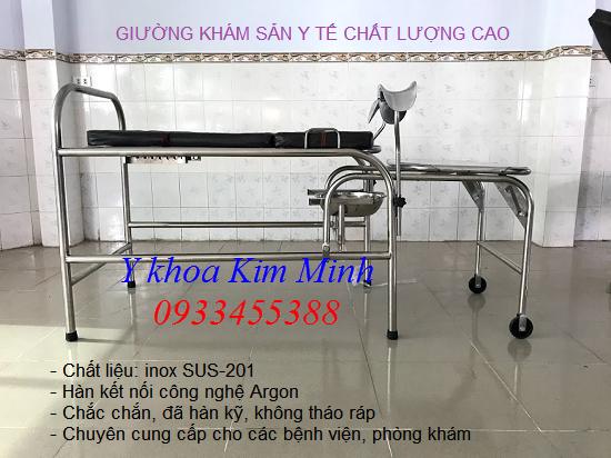 Giường sanh inox Việt Nam kích thước D x R x C = 1.800 x 710 x 750mm - Y khoa Kim Minh