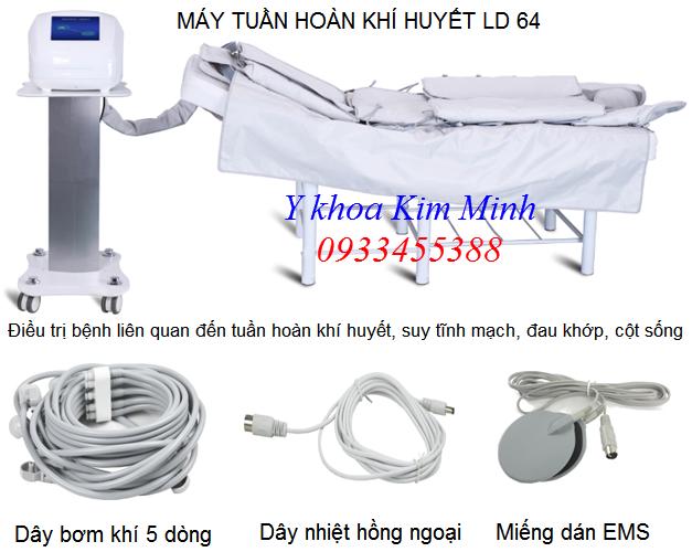 Máy tuần hoàn khí huyết bằng khí nén túi vải, chữa suy giãn tĩnh mạch, đau cột sống LD-64 - Y khoa Kim Minh 0933455388