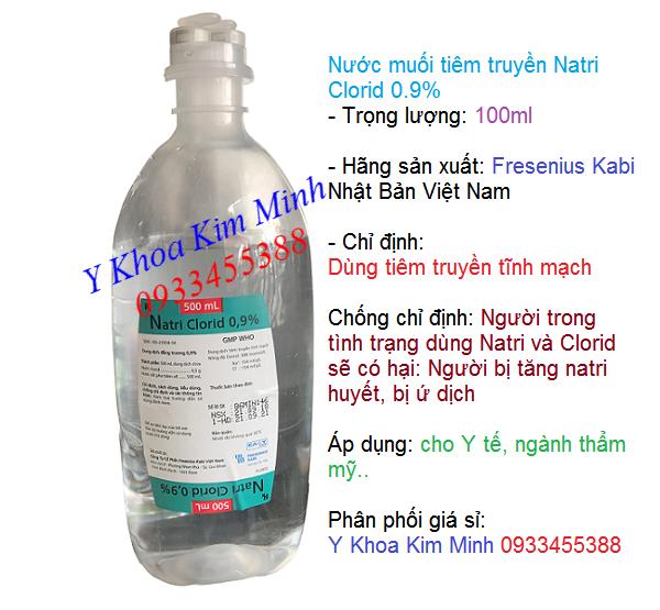 Nước cất pha tiêm truyền tĩnh mạch Natri Clorid 0.9% hãng Fresenius Kabi Nhật Bản - Y khoa Kim Minh
