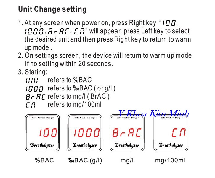 Hướng dẫn cách chuyển đổi thông số máy đo nồng độ cồn hơi thở và cồn trong máu Greenwon AT-858S - Y khooa Kim Minh
