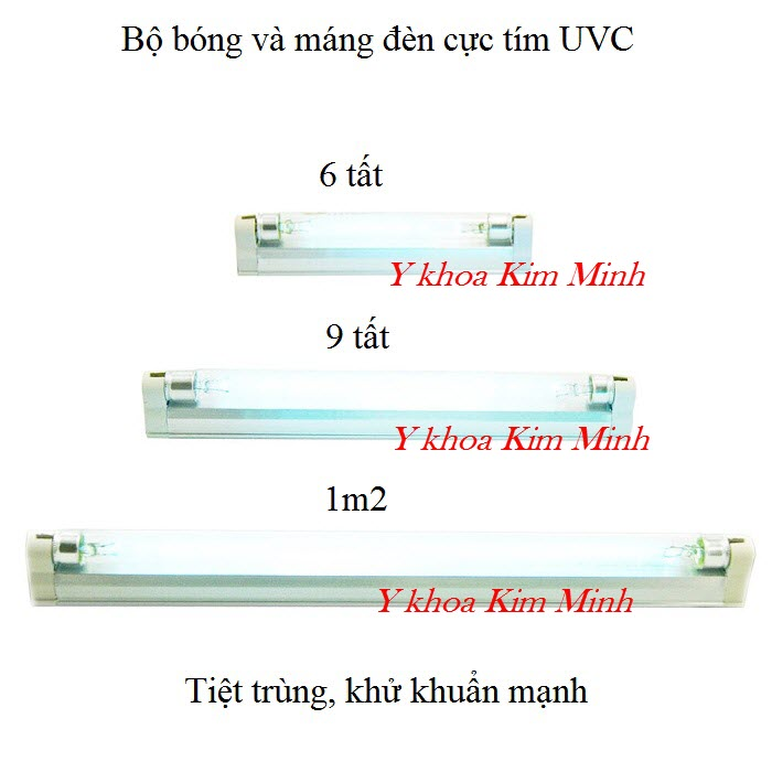 Bộ bóng máng đèn UV cực tím TQ kích thước 6 tất, 9 tất, 1m2 bán giá sỉ tại Tp HCM - Y khoa Kim Minh