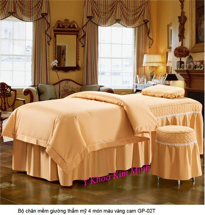 Bộ chăn gra mềm gối giường thẩm mỹ spa 4 bộ vải màu vàng cam GP-02T - Y khoa Kim Minh
