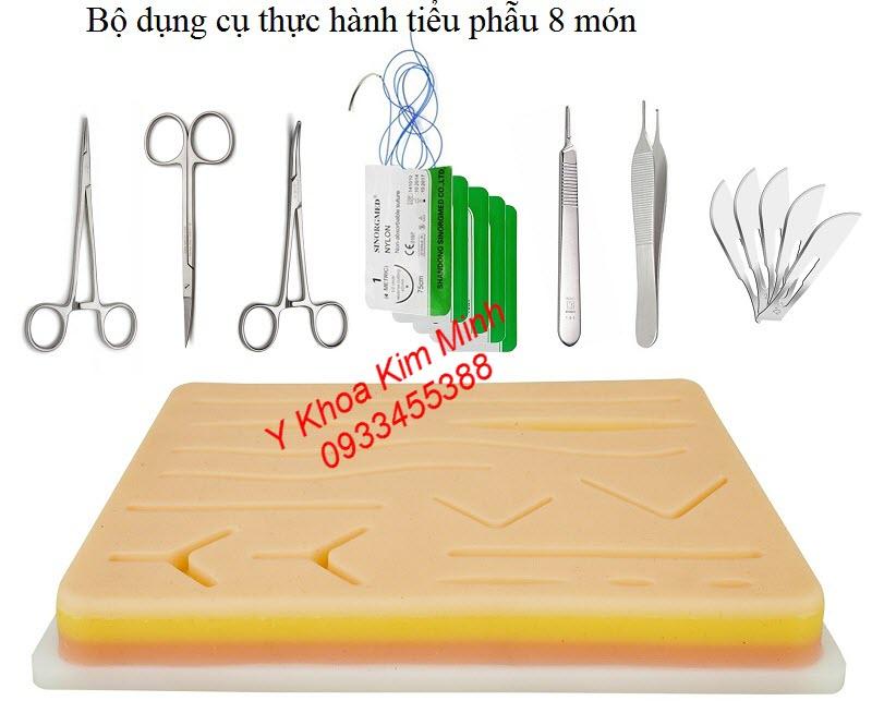 Bộ dụng cụ tiểu phẫu thực hành gồm 8 món dùng cho bác sĩ, sinh viên ngành y, người học phẫu thuật thẩm mỹ - Y Khoa Kim Minh