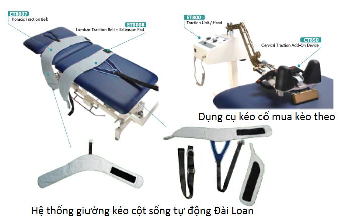 Bộ giường kéo lưng cổ tự động nhập khẩu Đài Loan - Y Khoa Kim Minh