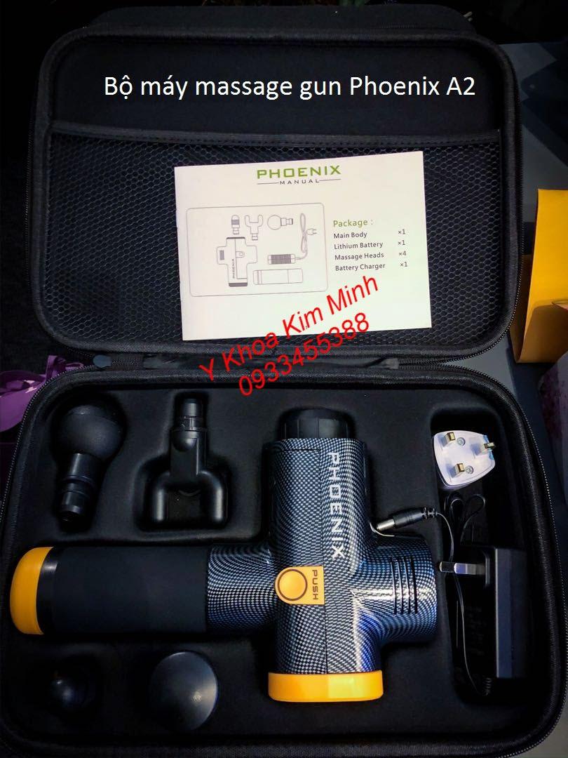 Bộ súng massage gun Phoenix A2 1500mAh có 4 đầu điều trị, thân máy carbon