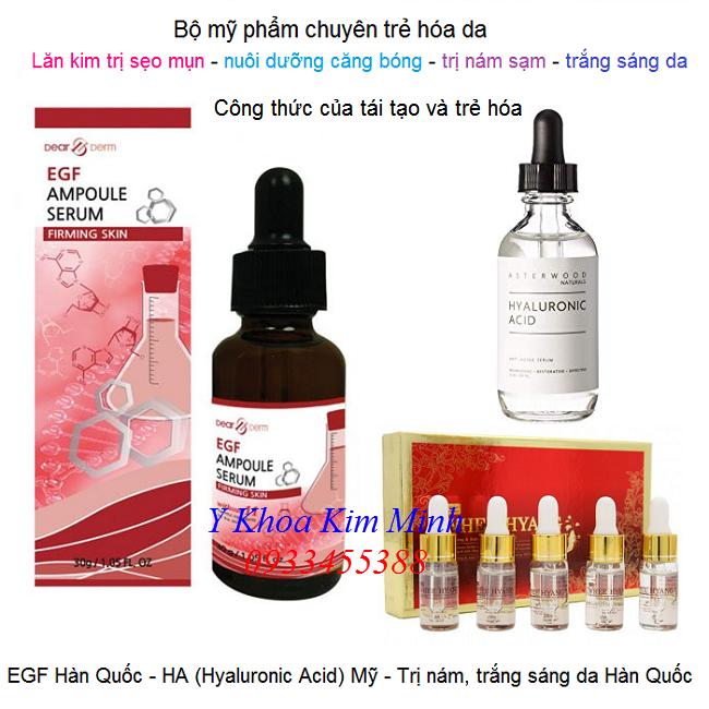 Bộ mỹ phẩm phẩm tái tạo trẻ hóa da EGF, HA, huyết thanh nhâm sâm - Y Khoa Kim Minh