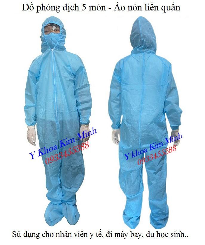 Bộ phòng dịch áo liền quần vải không dệt màu xanh gồm 3 món, 4 món, 5 món, 7 món chất lượng - Y khoa Kim Minh