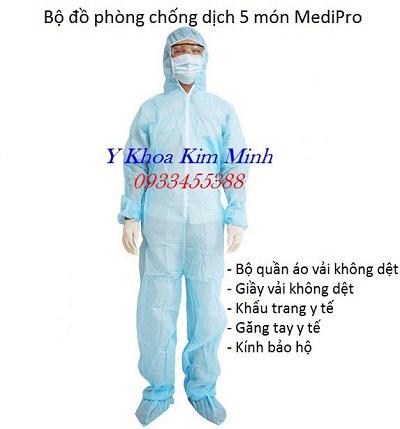 Bộ quần áo phòng dịch 5 món, quần áo bảo hộ phòng dịch 7 món - Y Khoa Kim Minh