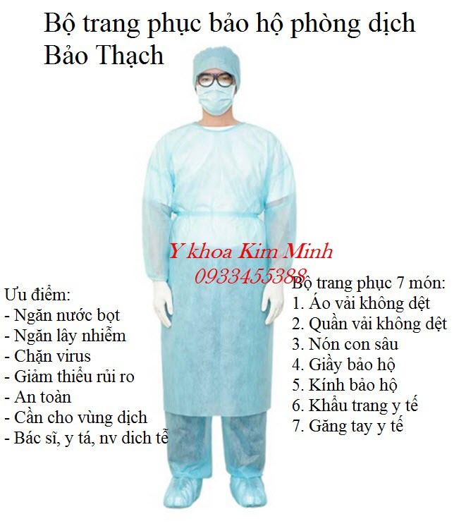 Bộ trang phục phòng dịch 7 món công ty sản xuất Bảo Thạch - Y Khoa Kim Minh