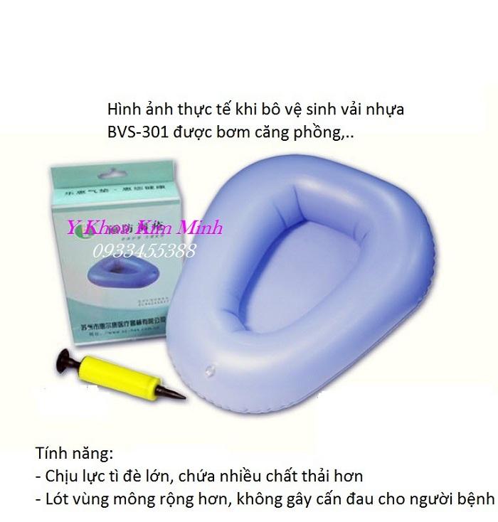 Bô vệ sinh y tế dùng cho người bệnh người già yếu nằm liệt giường chất liệu vải nhựa bơm khí BVS-301 - Y Khoa Kim Minh