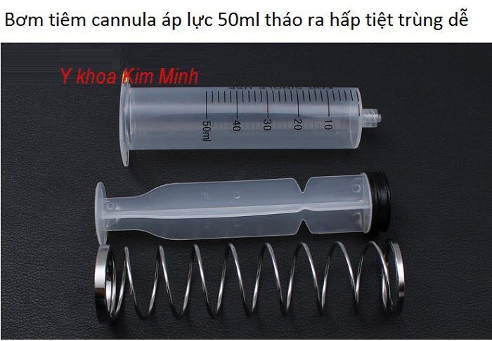 Bơm tiêm cannula tiêm mỡ tự thân loại áp lực có lò xo 50ml - Y khoa Kim Minh