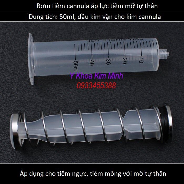 Bơm tiêm 50ml áp lực có lò xo dùng cho tiêm kim cannula - Y khoa Kim Minh