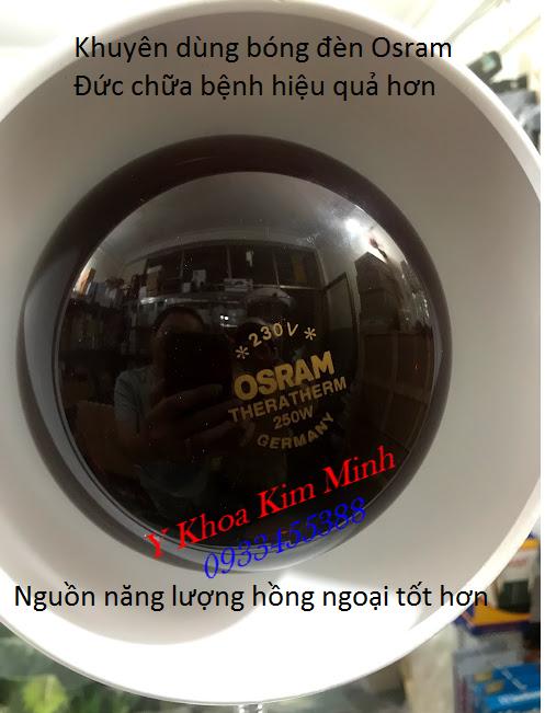 Dùng bóng đèn hồng ngoại Osram Đức công suất 250W có năng lượng thấp nhưng toạ nhiệt lượng hồng ngoại chữa bệnh đau nhức cơ khớp và thần kinh hiệu quả - Y khoa Kim Minh