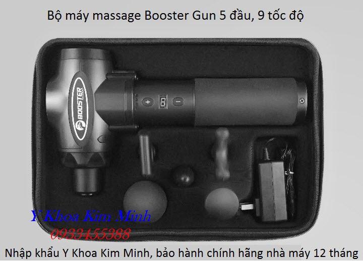 Máy massage booster Gun 5 đầu 9 tốc độ chuyên dùng điều trị cơ xương khớp và đau nhức toàn thân - Y Khoa Kim Minh