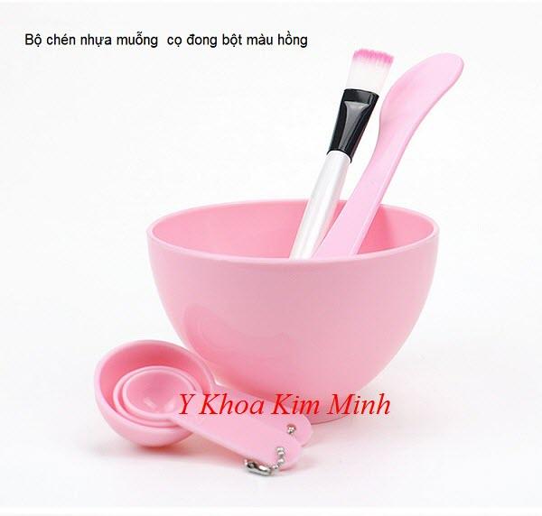 Bộ chén nhựa muỗng cọ quét làm mặt nạ màu hồng - Y Khoa Kim Minh 0933455388