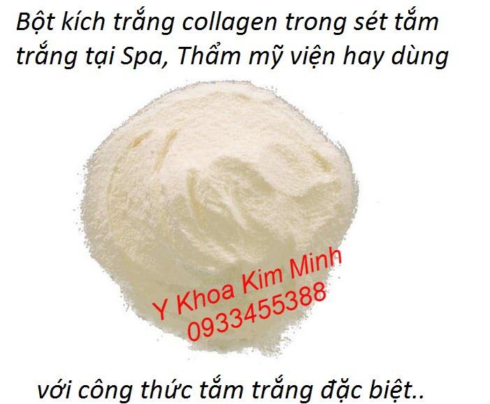 Bôt collagen kích trắng nằm trong set tắm trắng toàn thân theo công thức đặc biệt