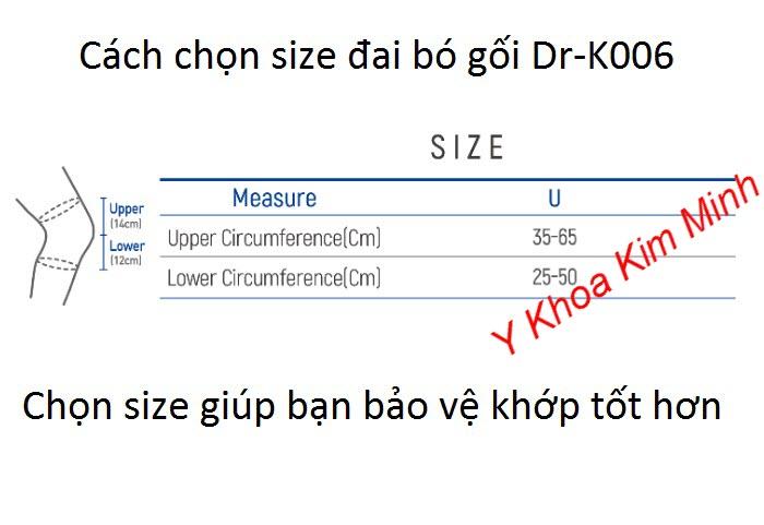 Cách chọn size đai bó khớp gối Hàn Quốc Dr Med Dr-K006