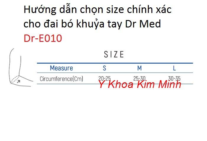 Cách chọn size đai bó khuỷa tay cho người bị bong gân, viêm gân vùng khuỷa tay Hàn Quốc Dr-E010
