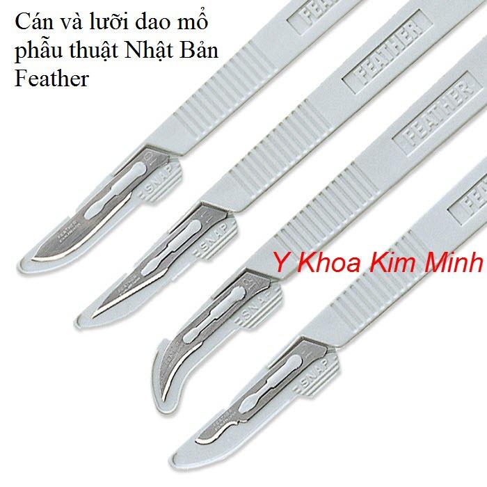 Bộ cán dao và dao mổ phẫu thuật y tế Feather của Nhật Bản - Y khoa Kim Minh